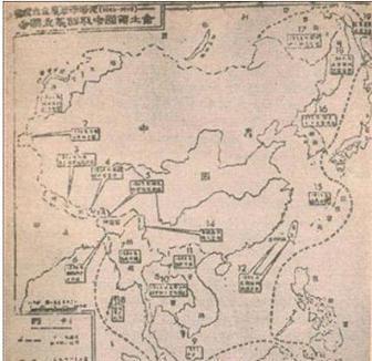 """Bản đồ này đã được in trong cuốn """"Sơ lượclịch sử   Trung Quốc hiện đại"""" xuất bản tại Bắc Kinh năm 1954"""